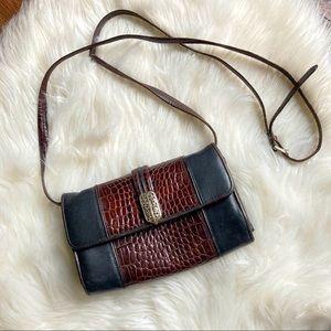 Brighton Leather Crossbody Fold Over Bag Purse